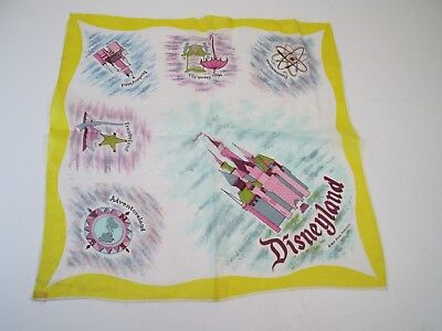 "Vintage Disneyland Silk and Rayon Scarf Hand Rolled Made in Japan 17"" x 17"""