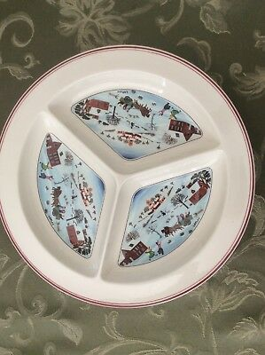 """Villeroy & Boch Divided Serving Platter Hors D'Oeuvre Tray Naif Christmas   11"""""""
