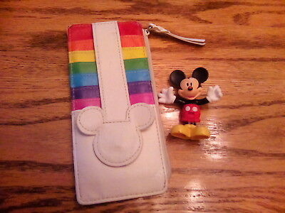 Disney Mickey Mouse White/Multicolor Card Wallet, with Mickey Mouse Figurine