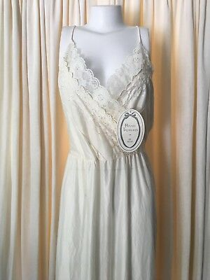 Private Treasures by Avon Nylon Nightgown White Large NWT Vintage Full Length