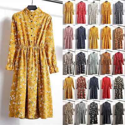 UK Womens Button Floral Long Sleeve Collared Ladies Casual Paty Long Shirt Dress