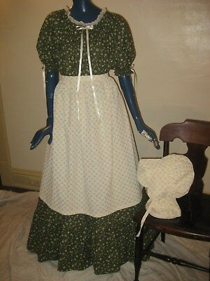 1X 3X Pioneer Colonial Prairie Frontier Trek Dress Bonnet & Apron Women Olive Gr