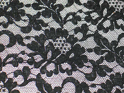 "NOS Antique VTG FRENCH Alencon net Lace Fabric 34"" Wide by 70"" Jacobean Flowers"