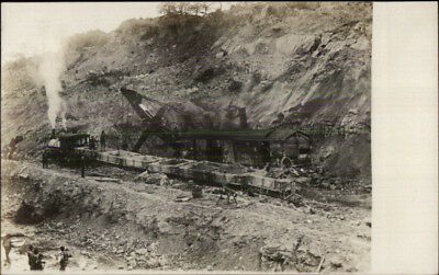 Unidentified - Steam Shovel at Work RR Train - Propbably Panama Canal RPPC