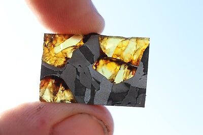 Fukang meteorite pallasite part slice 4 grams ONLY FINSHED ON ONE SIDE