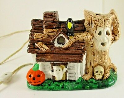 Vintage Ceramic Halloween Haunted House That Is Lighted