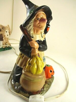 Vintage Ceramic Halloween Witch Figurine That Is Lighted