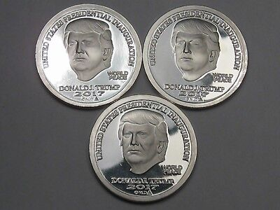3 NORFED 2017 Inauguration TRUMP Silver Rounds. 1 Troy oz .999 Fine Silver.  #15