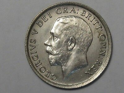 AU/Unc 1918 Great Britain Shilling Sterling Silver Coin.  #34