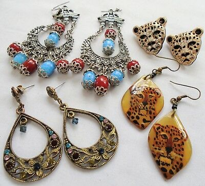 Four pairs large vintage earrings (gold metal & diamond paste leopard, lucite)