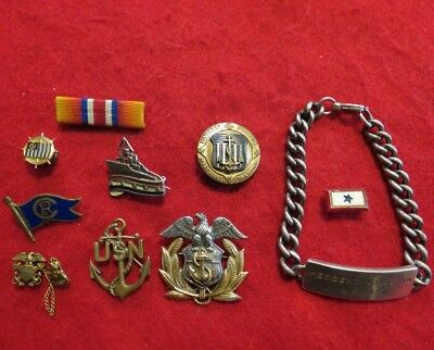 US Merchant Marine Sterling ID Bracelet & Sterling Insignia & some Nautical Pins