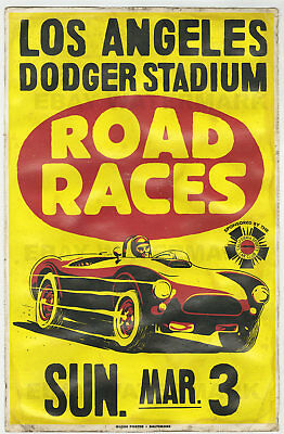 1960's Shelby AC Cobra Dodger Stadium Race Vintage Advertising Poster 11x17 Ford