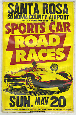 1950's Cooper Climax Bobtail Race Vintage Advertising Poster 11x17 Santa Rosa