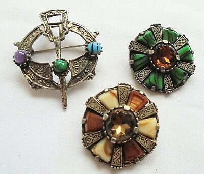 Three good vintage Scottish/Celtic silver metal & agate glass brooches
