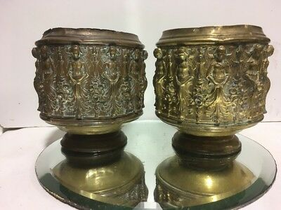 VTG. French English Brass Jardiniere Bowl Topiary Egyptian Revival Urns Planter