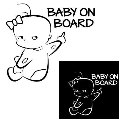 FT- Cartoon Baby On Board Letters Car Window Sticker Decal Decor Warning Sign Wi