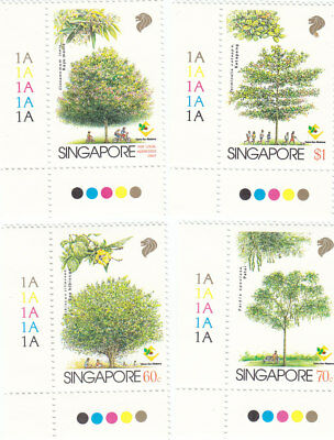 "Singapore, 1979, ""trees Of Singapore"" Stamp Set Mint Nh Fresh Good Condition"