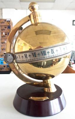 Vintage Brass Globe 8 day Table Clock / Desk Clock by Charles Frodsham of London