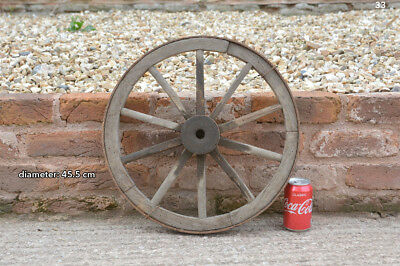 45.5 cm - vintage old wooden cart wagon wheel - FREE DELIVERY