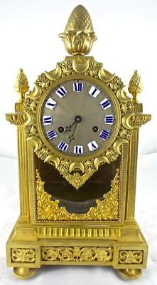 Superb Antique French 19th c gilt ormolu bronze & Glass 8 Day Bell Mantle Clock