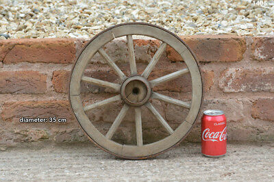 35 cm - vintage old wooden cart wagon wheel - FREE DELIVERY