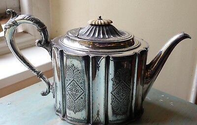 Antique Victorian ornate silver plate (EP) teapot 19th C James Deakin & Sons