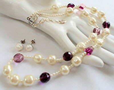 Good vintage cultured pearl & glass bead necklace + cultured pearl earrings