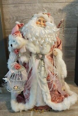 "Pink Rose Victorian Santa Clause 19"" Christmas Table Top Tree Topper Dillard's"