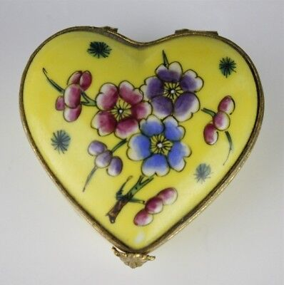 Signed Limoges France Hand Painted Bronze Mounted Hinged Heart Trinket Box IBD