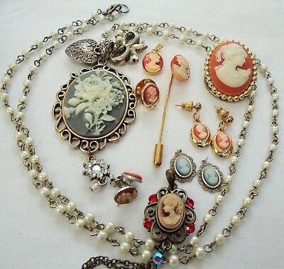 Large vintage silver metal, cameo & pearl necklace + cameo earrings + 4