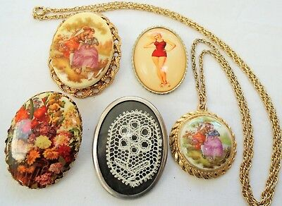 "Large vintage gold metal ""lovers"" picture brooch + ceramic pendant & chain + 3"