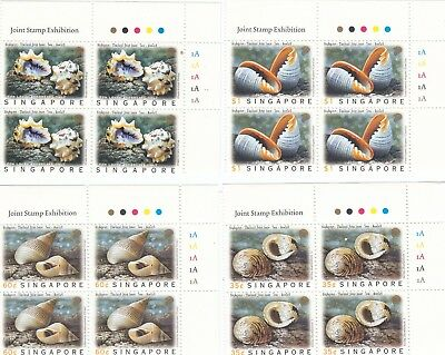 "Singapore, 1997, ""sea Shell - Join Thailand"" Block Of 4 Stamp Sets Mint Nh Fresh"