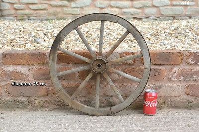 49 cm - vintage old wooden cart wagon wheel - FREE DELIVERY