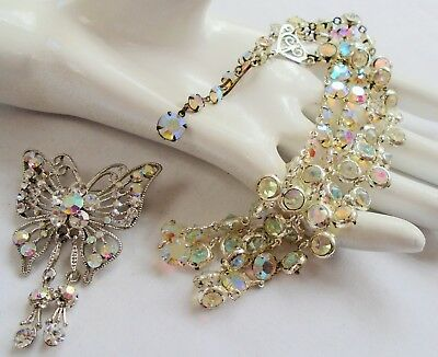 Stunning vintage 2 row silver metal & a.b crystal necklace + butterfly brooch