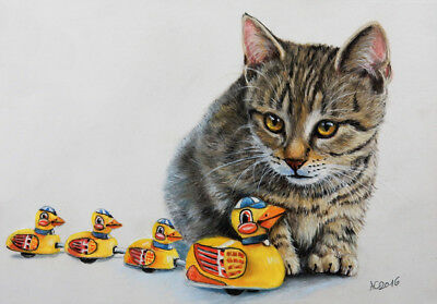 Tabby cat & toys Original new Pastel Painting Art by Artist A.C. GRIEHL-GROSS