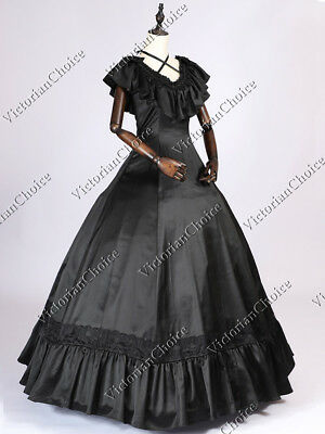 Victorian Fancy Gothic Black Evening Gown Dress Theatrical Steampunk Costume 127