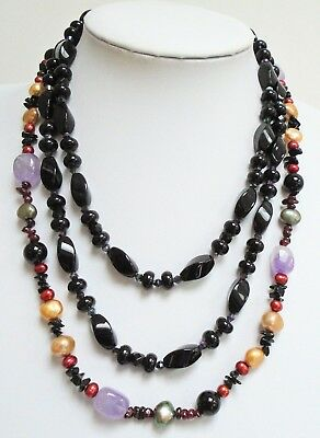 Good vintage garnet, cultured pearl & onyx necklace (sterling silver clasp) + 1