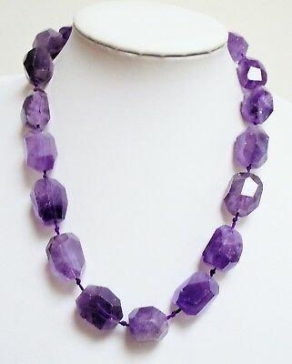 Stunning large vintage hand knotted faceted amethyst bead necklace