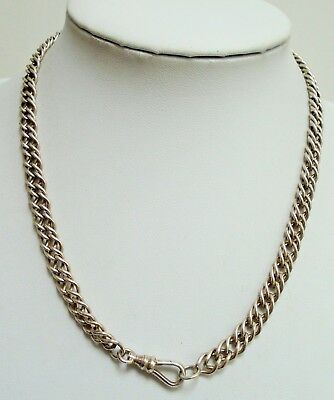 Heavy quality vintage sterling silver chain collar necklace (dog clip clasp)