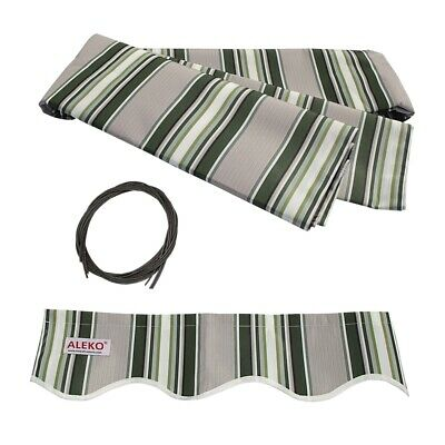 ALEKO Fabric Replacement For 20x10 Ft Retractable Awning Multistripe Green Color