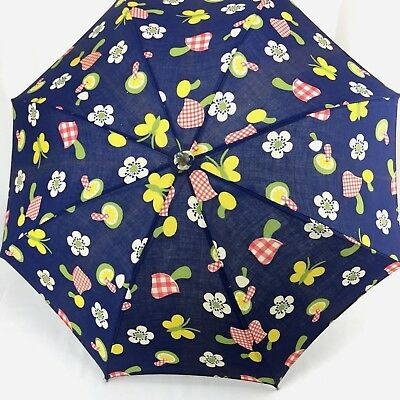 Vintage Cloth Umbrella Parasol Blue With Mushrooms Butterflies Flowers Small 21""