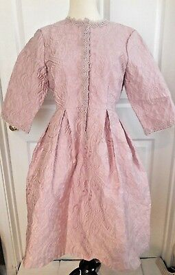 Dress Jacquard Tapestry Pink Floral Victorian Fit n Flare Renaissance Lace Large