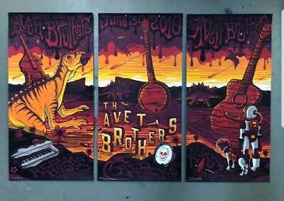 Avett Brothers 3 Night Poster COMPLETE SET Red Rocks 2018 Mazza Signed/#ed mint