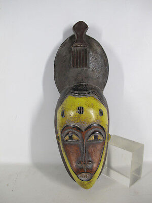 Vintage African Guro Tribe Carved & Painted Wood Face Mask Côte d'Ivoire #8 yqz