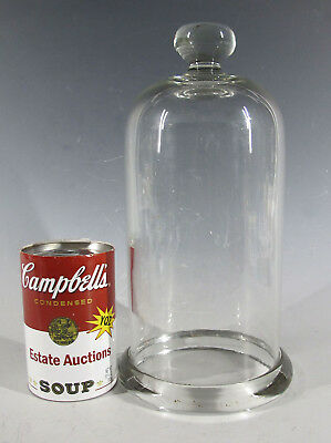 Antique 19th c Cloche Dome Bell Jar Blown Glass Vacuum Apothecary Display #2 yqz