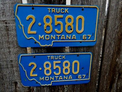 "Nice Matching Set Of ""montana"" Truck License Plates From Great Falls,montana"