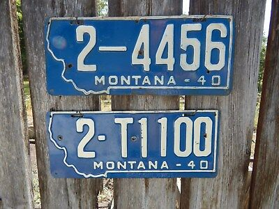 "Pair Of ""montana 1940 Plates - 1 Passenger Car & 1 Truck Prison Made Plate"