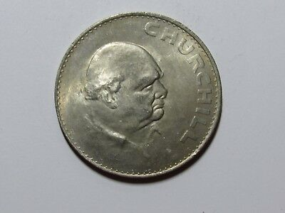 Old Great Britain Coin - 1965 Crown - Churchill Commemorative - Circulated
