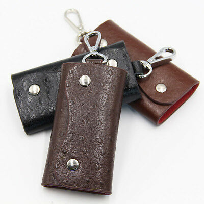 FT- Faux Leather Men Keychain Key Holder Organizer Button Case Keyfob Gracious
