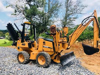 Case 460 Riding Kubota Diesel Trencher W/ Backhoe 6 Way Blade 4 Wheel Steer 4X4